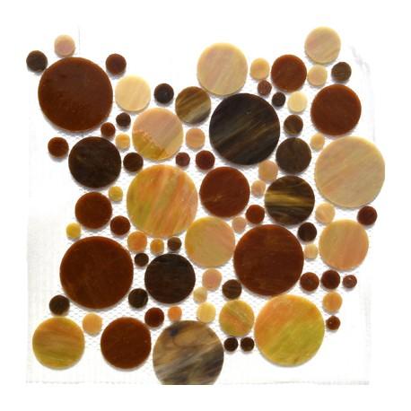 Palets de verre américain MARRON ronds vendus à la plaque