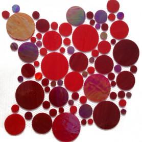 Palets de verre ROUGE INTENSE la plaque