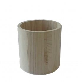 Petit pot à crayons rond en bois diamètre 9 cm à décorer en mosaïque