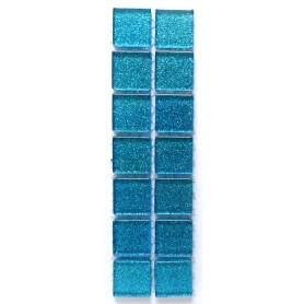 Pâtes de verre pailletées BLEU TURQUOISE 2 × 2 cm
