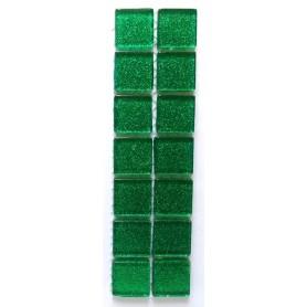 Pâtes de verre pailletées VERT ÉMERAUDE 2 × 2 cm