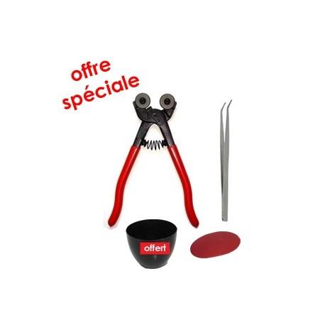 Kit outils mosaïque complet LOISIRS avec une pince à molettes générique, une pince brucelles, une estèque et une auge à joint