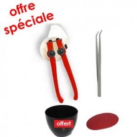Kit outils mosaïque complet PASSION avec une pince mosaïque Zag-Zag, une pince brucelles, une estèque et une auge à joint