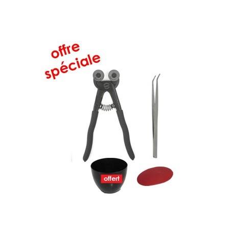 Kit outils mosaïque complet QUALITÉ avec une pince mosaïque Leponitt, une pince brucelles, une estèque et une auge à joint
