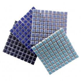 Mini-porcelaine 1 × 1 cm camaïeu OCÉAN pour mosaïque vendue en lot de 4 plaques de couleurs assorties
