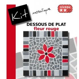 Kit Mosaïque Support bois Carré décoré avec des Emaux de Briare dans les tons gris et noirs et d'une fleur rouge