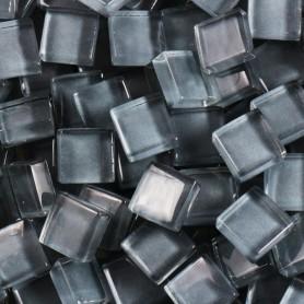 Pâtes de verre translucides Cendre gris 10x10 mm