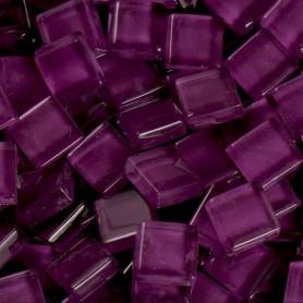Pâtes de verre translucides Cassis violet foncé 10x10 mm