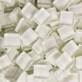 Pâtes de verre translucides Litchi blanc 10x10 mm