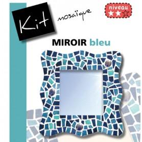 Kit Mosaïque Support bois Miroir Vague décoré avec des Emaux de Briare et des billes de verre dans un camaïeu de bleus