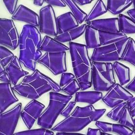 Pâtes de verre translucides givrées de forme aléatoire Cassis violet