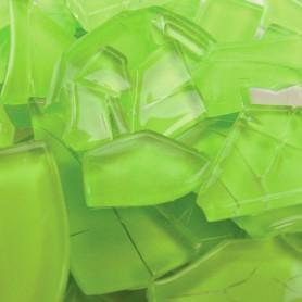 Pâtes de verre translucides givrées de forme aléatoire Carambole vert