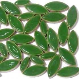 Céramiques Pétales EUCALYPTUS vert foncé émaillées pour mosaïque mélange de 2 tailles
