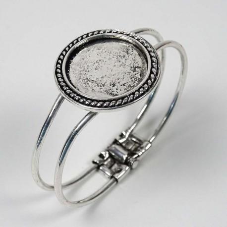 Support bracelet manchette Marquise grand rond en métal 3,8 cm à décorer en mosaïque