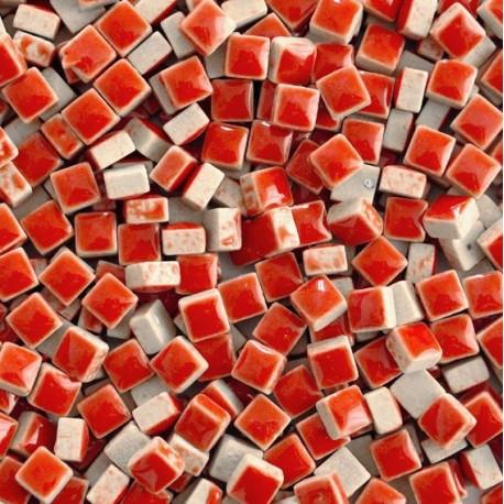 Micro-porcelaine 5 × 5 mm couleur FRAISE rouge pour mosaïque