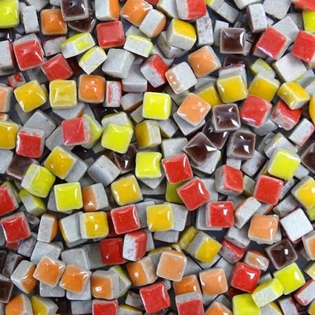 Micro-porcelaine 5 × 5 mm cocktail AUTOMNE composé de couleurs flamboyantes (rouge, orange, jaune et marron) pour mosaïque