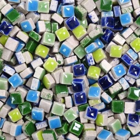 Micro-porcelaine 5 × 5 mm cocktail PRINTEMPS composé de couleurs gaies (vert et bleu) pour mosaïque