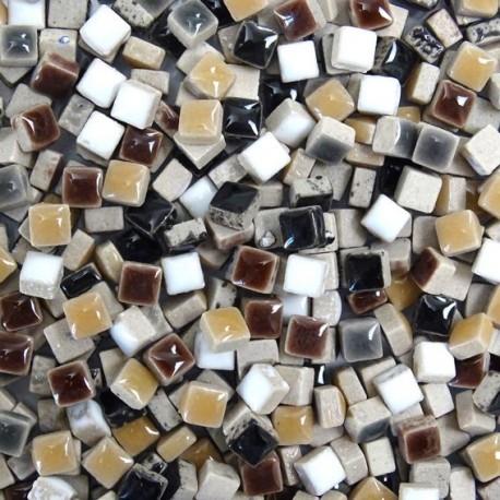 Micro-porcelaine 5 × 5 mm cocktail HIVER aux couleurs chaleureuses (camaïeu de marrons, blanc et noir) pour mosaïque