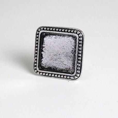 Support bague carrée Comtesse ajustable en métal 2,6 × 2,6 cm à décorer en mosaïque