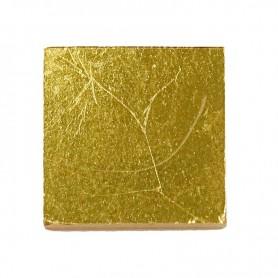 Pâte de verre OR JAUNE lisse pour mosaïque 2 × 2 cm