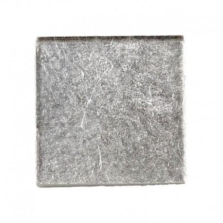 Pâte de verre OR BLANC lisse pour mosaïque 2 × 2 cm