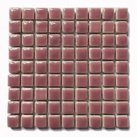 Mini-porcelaine 1 × 1 cm couleur DRAGÉE vieux rose pour mosaïque vendue à la plaque
