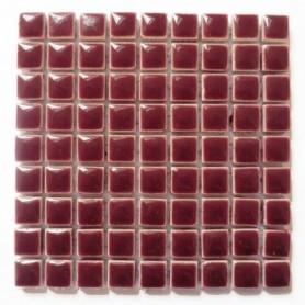 Mini-porcelaine 1 × 1 cm couleur PRUNE lie de vin pour mosaïque vendue à la plaque