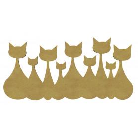 Support en bois représentant une famille de 9 chats collés les uns aux autres