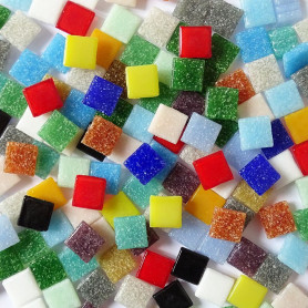Pâtes de verre unies COCKTAIL MULTICOLORE 1 × 1 cm vendues par 200 g