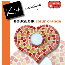 Kit mosaïque Bougeoir CŒUR ORANGE