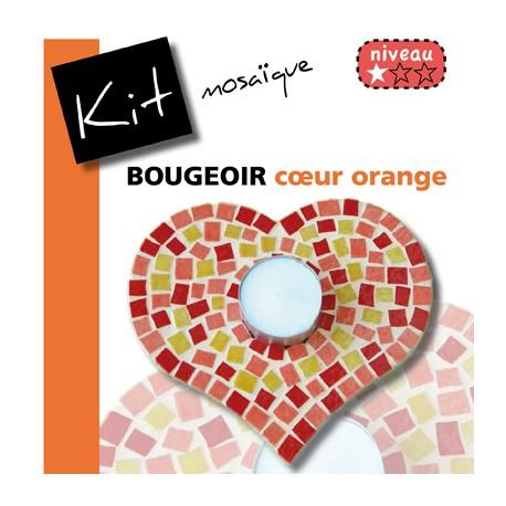 Kit Mosaïque Support bois Bougeoir Cœur décoré avec des Emaux de Briare POLLEN, ZINNIA et PIVOINE