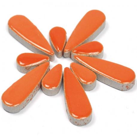 Céramiques Gouttes d'eau CAPUCINE orange émaillées pour mosaïque mélange de 2 tailles vues de profil