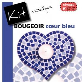 Kit Mosaïque Support bois Bougeoir Cœur décoré avec des Emaux de Briare LAVANDE et DANUBE
