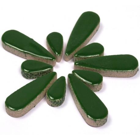 Céramiques Gouttes d'eau EUCALYPTUS vert foncé émaillées pour mosaïque mélange de 2 tailles vues de profil
