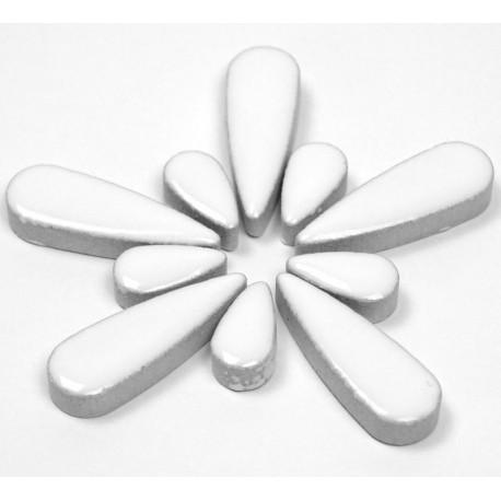 Céramiques Gouttes d'eau JASMIN blanc pur émaillées pour mosaïque mélange de 2 tailles vues de profil