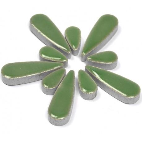 Céramiques Gouttes d'eau LOTUS vert tendre émaillées pour mosaïque mélange de 2 tailles vues de profil