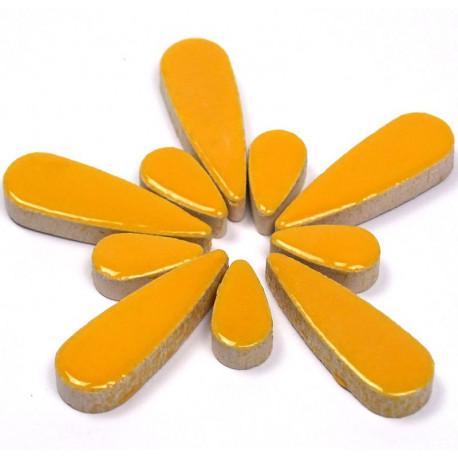 Céramiques Gouttes d'eau SAFRAN jaune doré émaillées pour mosaïque mélange de 2 tailles vues de profil