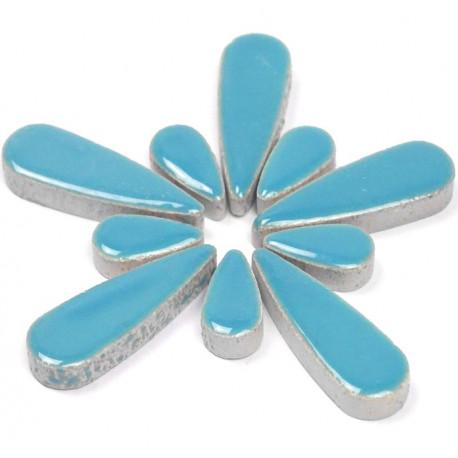 Céramiques Gouttes d'eau MYOSOTIS bleu ciel émaillées pour mosaïque mélange de 2 tailles vues de profil