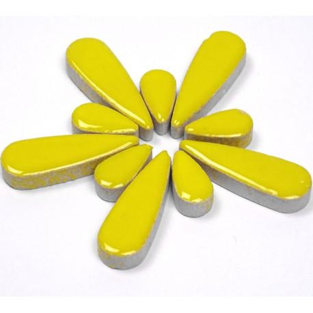 Céramiques Gouttes d'eau MIMOSA jaune émaillées pour mosaïque mélange de 2 tailles vues de profil