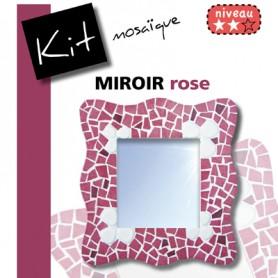 Kit Mosaïque Support bois Miroir Vague décoré avec des Emaux de Briare et des galets japonais dans des tons rose et blanc