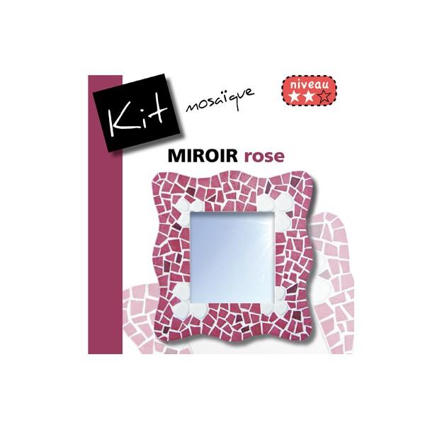 Kit mosaique miroir en maux de briare rose fuschia et for Miroir japonais