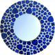 Support bois forme Miroir rond décoré avec des Emaux de Briare couleur CARAÏBES et des galets japonais bleu de Chine