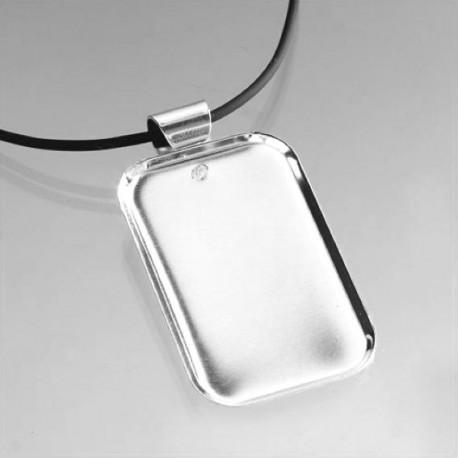 Support collier rectangulaire en métal 3 × 5 cm et cordon en cuir noir à décorer en mosaïque