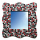 Miroir forme vague décoré avec des Emaux de Briare couleur MOUETTE, SCHISTE, PIVOINE, PRUNELLE et MUGUET