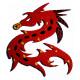Support bois forme Dragon décoré avec des Emaux de Briare couleur PIVOINE, POLLEN et PRUNELLE