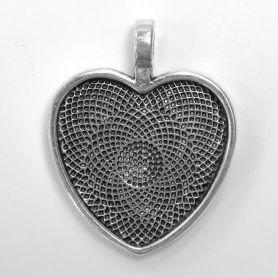 Support pendentif cœur en métal 2,8 × 2,6 cm à décorer en mosaïque