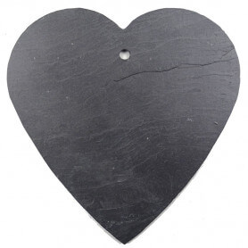 Très grande ardoise naturelle en forme de cœur 14 × 14 cm pour mosaïque ou autres techniques de loisirs créatifs vue côté lisse