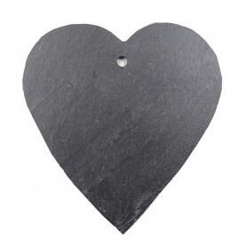 Grande ardoise naturelle en forme de cœur 12 × 12 cm pour mosaïque ou autres techniques de loisirs créatifs vue côté lisse