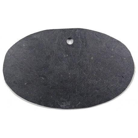 Ardoise naturelle ovale 12 × 8 cm pour mosaïque ou autres techniques de loisirs créatifs vue côté lisse