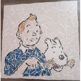 Tableau en mosaïque, motif Tintin